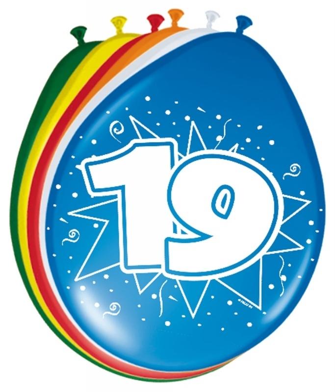 Ballonnen 19 jaar (assorti kleuren)