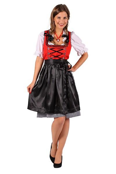 Rood-zwart dirndl Jana jurk