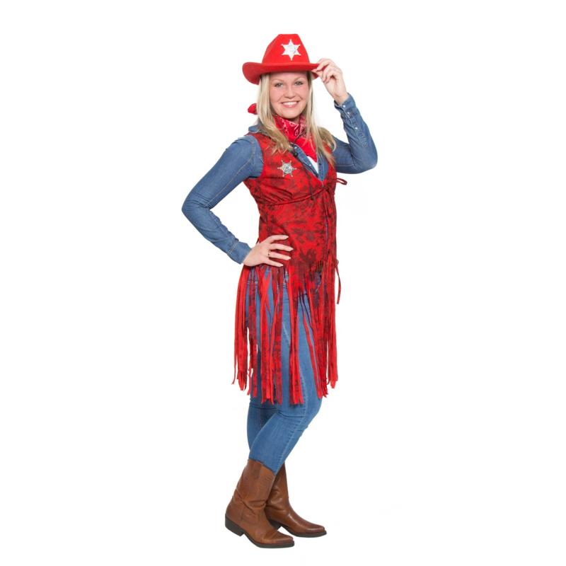 Cowgirl jurkje rood