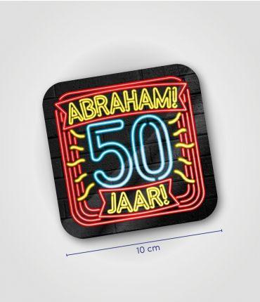 Neon onderzetters 50 jaar Abraham