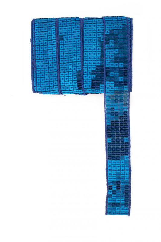 Paillettenband recht blauw 3m