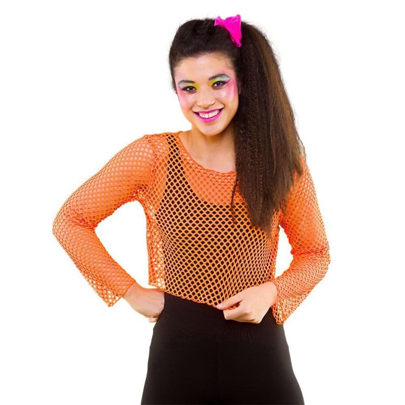 Kort net shirt neon oranje