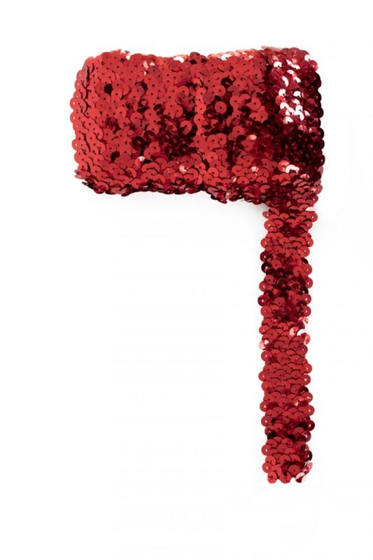 Paillettenband breed elastisch rood 3m