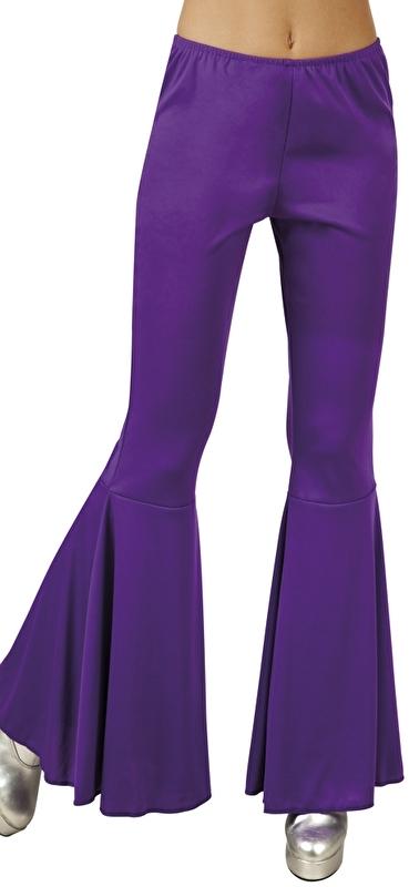 Disco broek wijde pijpen paars