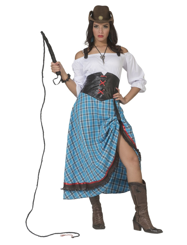 Cowgirl blue bird jurk lang | Cowboy lady