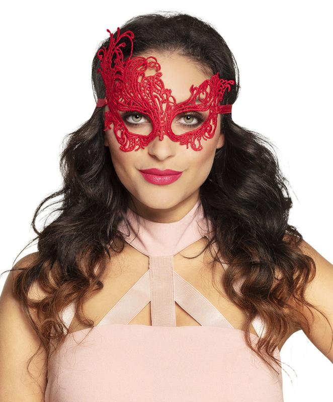 Oogmasker masquerade kant rood