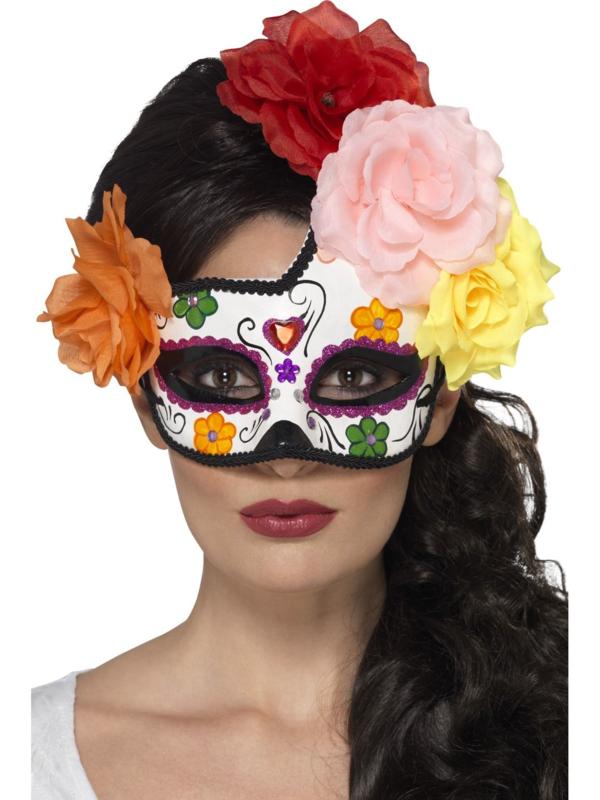 Bloemen masker Dia de los muertos