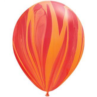 Marmer ballonnen red & orange 5 stuks