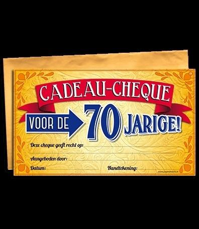 Cadeau Cheque 70 Jarige Cadeau Cheques Goedkope