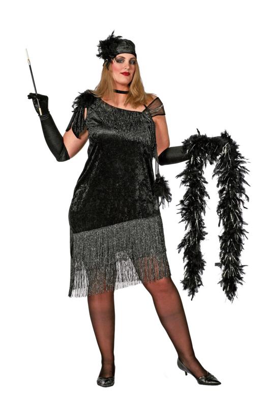 Charleston jurk zwart plus