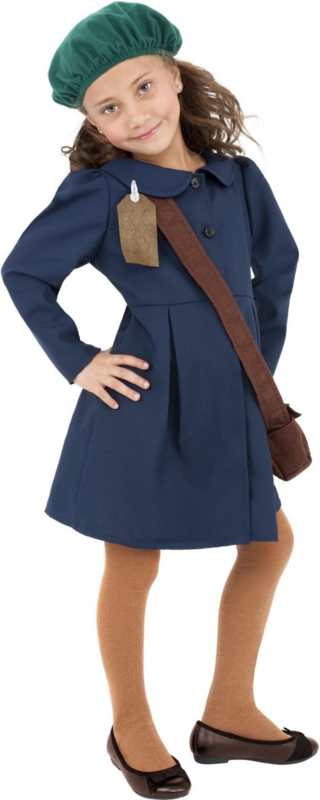 WW2 geëvacueerde meisjes jurk blauw
