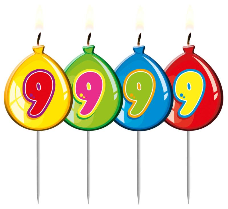 Kaarsjes 9 jaar balloons