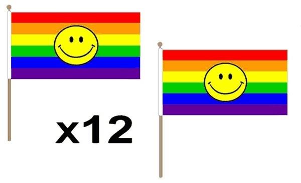 Regenboog smile zwaaivlaggetjes 12 stuks