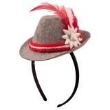 Mini oktoberfest hoedje op diadeem rood