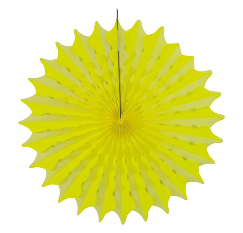 Honeycomb fan neon geel