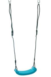 Schommel zitje plastic turquoise met zwarte touwen