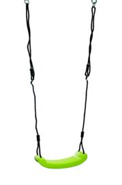 Schommel zitje plastic limoen groen met zwarte touwen