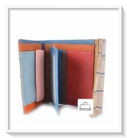 Lederen portemonnee / Kroko grof / klein / kleur oranje