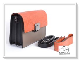 Kroko: 3 kleuren: Oranje - Taupe - zwart