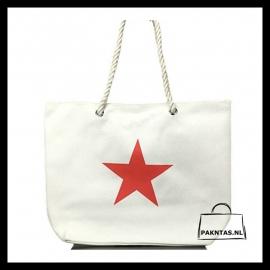 Strandtas Star: gebroken wit