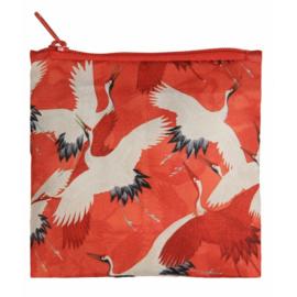 Shopper opvouwbaar, witte en rode kraanvogels