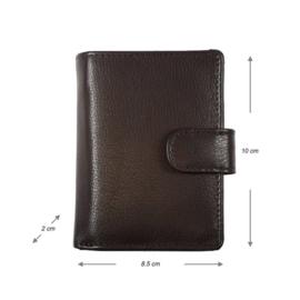 Miniwallet - Mini portemonnee - Donkerbruin - Creditcardhouder - Pasjeshouder leer - Cardprotector