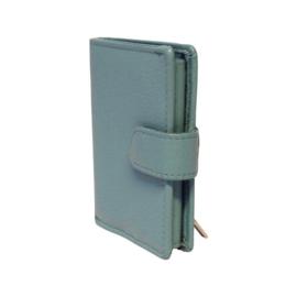 Pasjeshouder leer - Cardprotector - Miniwallet - Mini portemonnee - Lichtblauw leer - Creditcardhouder