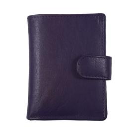 Pasjeshouder leer - Cardprotector - Miniwallet - Mini portemonnee - Donkerpaars leer - Creditcardhouder