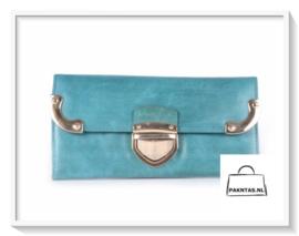 Portemonnee / Gouden gesp / kleur Blauw - Turquoise