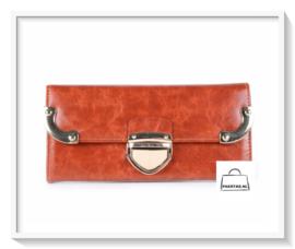 Portemonnee / Gouden gesp / kleur Oranje - Donkercaramel