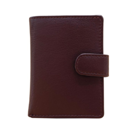 Pasjeshouder leer - Cardprotector - Mini wallet - Mini portemonnee - Bordeauxrood leer - Creditcardhouder
