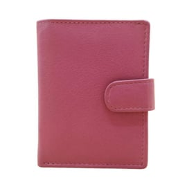 Pasjeshouder leer - Cardprotector - Miniwallet - Mini portemonnee - Roze leer - Creditcardhouder