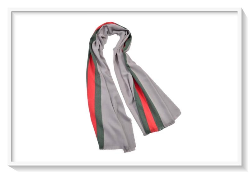 Sjaal Pashmina: Cashmere: Grijs/groen/rood