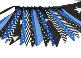 vlaggetjes zwart met kobalt