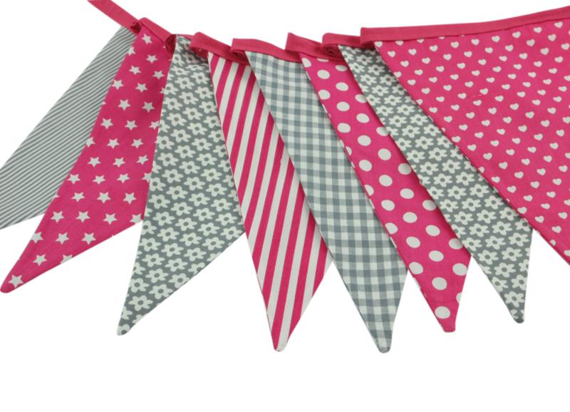 vlaggenlijn grijs/ pinkroze