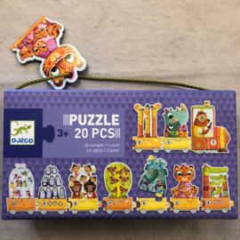 Djeco puzzel 3+ dieren tellen trein