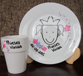 Ontbijtbord & melkbeker prinses Vivian