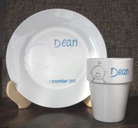 Ontbijtbord & Melkbeker Dean