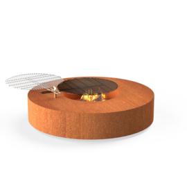 Cortenstaal ST vuurtafel/BBQ 1250xH280mm