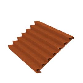 Cortenstaal trap 7 treden L3000xB1680xH1190mm. Gratis bezorgd.