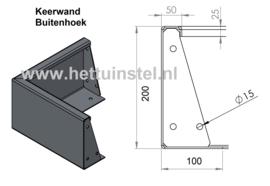 Aluminium ST keerwand buitenhoek L500xB500xD4xH200mm.