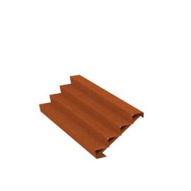 Cortenstaal trap 4 treden L2500xB960xH680mm. Gratis bezorgd