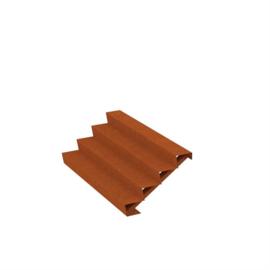 Cortenstaal trap 4 treden B200xD96xH68cm
