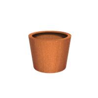 Cortenstaal plantenbak rond Tapse cilinder 100x80cm