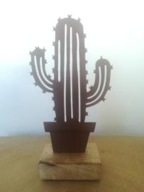 Mexicaanse cactus van metaal op houten voetje
