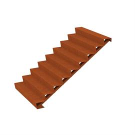 Cortenstaal trap 9 treden L1500xB2160xH1530mm. Gratis bezorgd.
