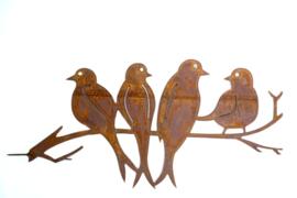 4 zwaluwen op schroeftak Iron ecoroest   44 x 22 cm