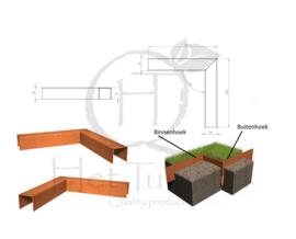 BetonTop Cortenstaal profiel hoek 30x30x5,4x5cm