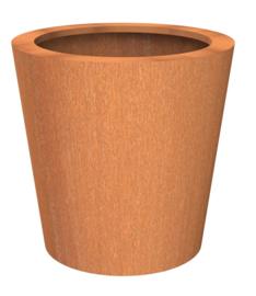 Cortenstaal plantenbak rond, Tapse cilinder