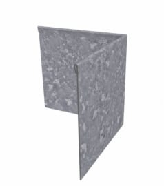 Hoekstuk buitenhoek geplet 90° Verzinkt staal 300x300x290 mm. en 2 mm.dik. Alleen te bestellen bij strips!!